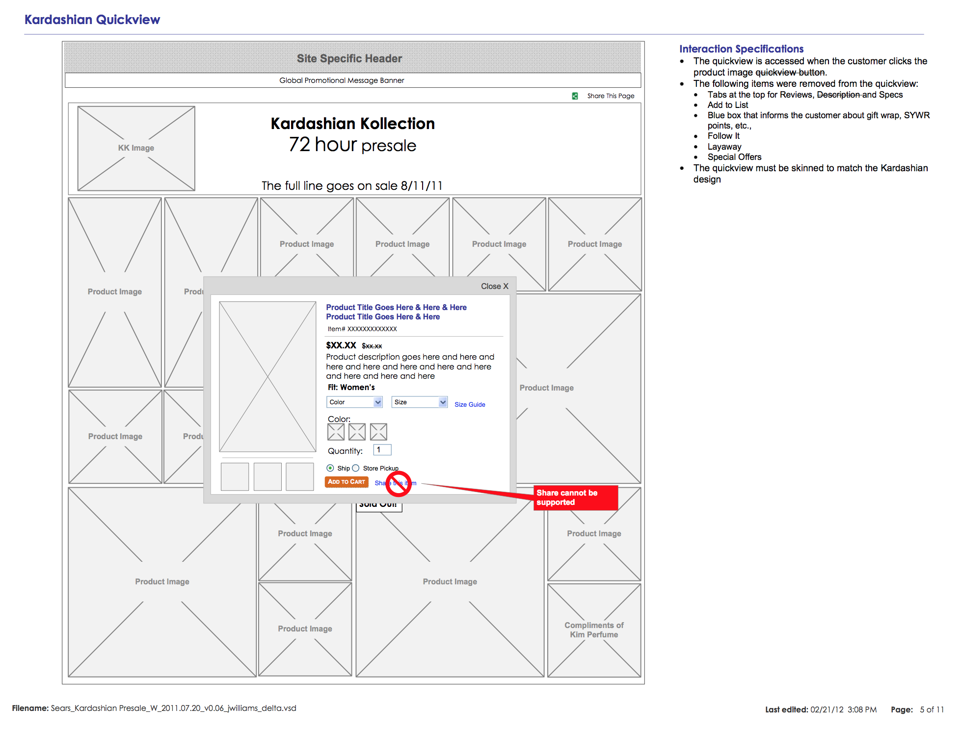 Kardashian Kollection Product Quickview Wireframe