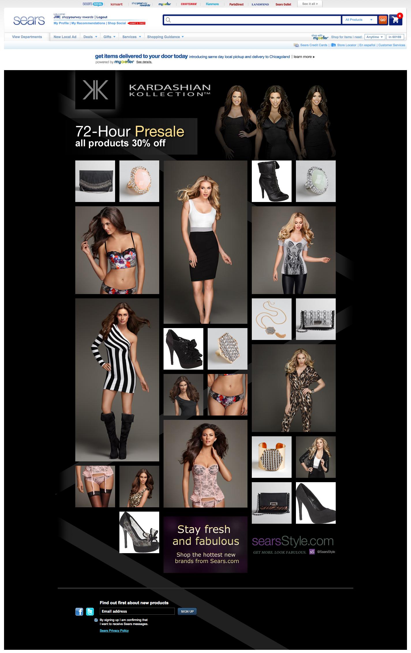 Kardashian Kollection Presale Landing Page
