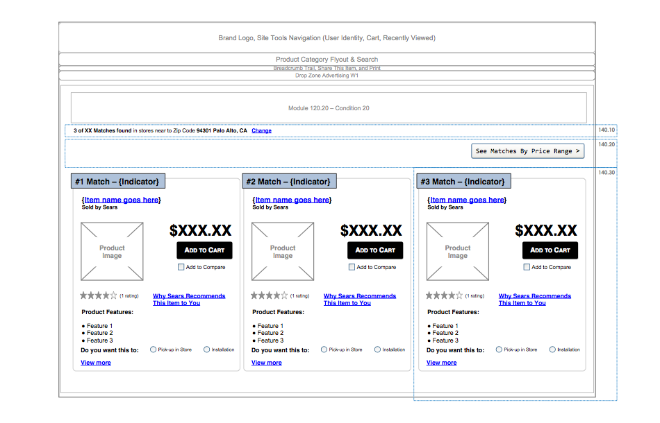 Product Finder Results Screen Wireframes