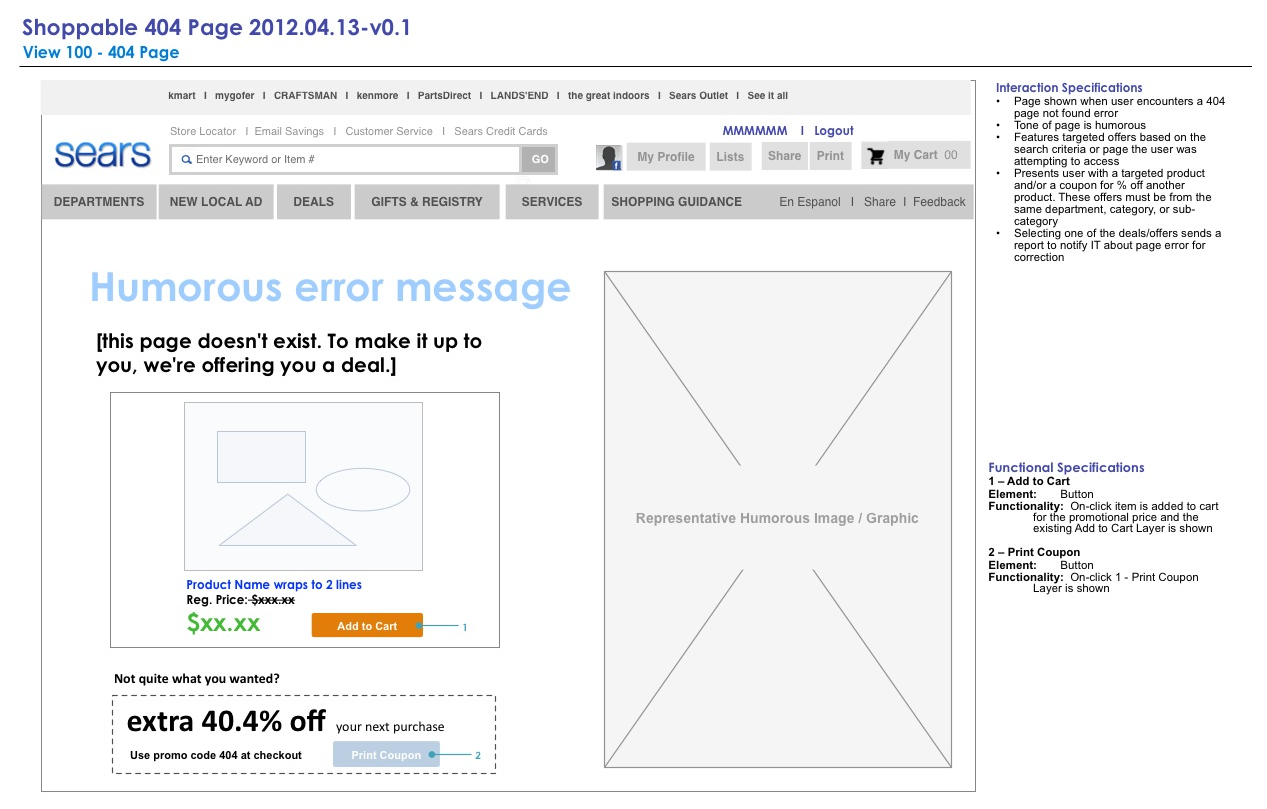 Proposed 404 Page Wireframe
