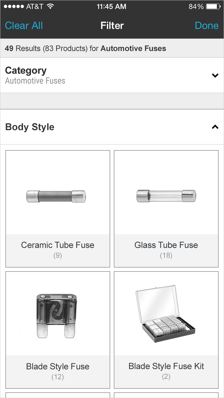 Visual Filter Options - Mobile