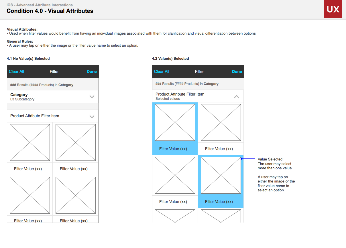Visual Filter Options Wireframes