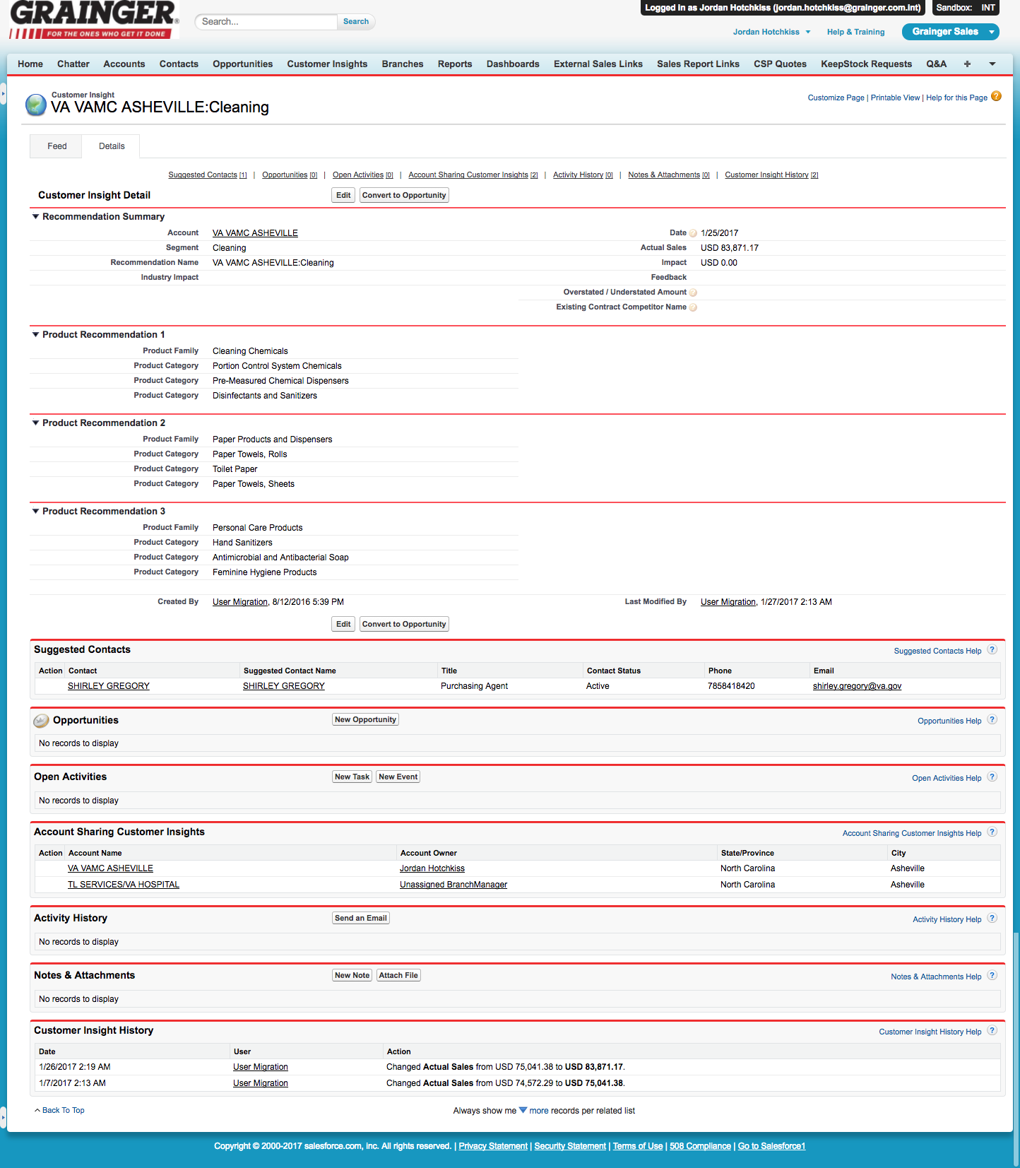 Insights Detail View - Salesforce Classic