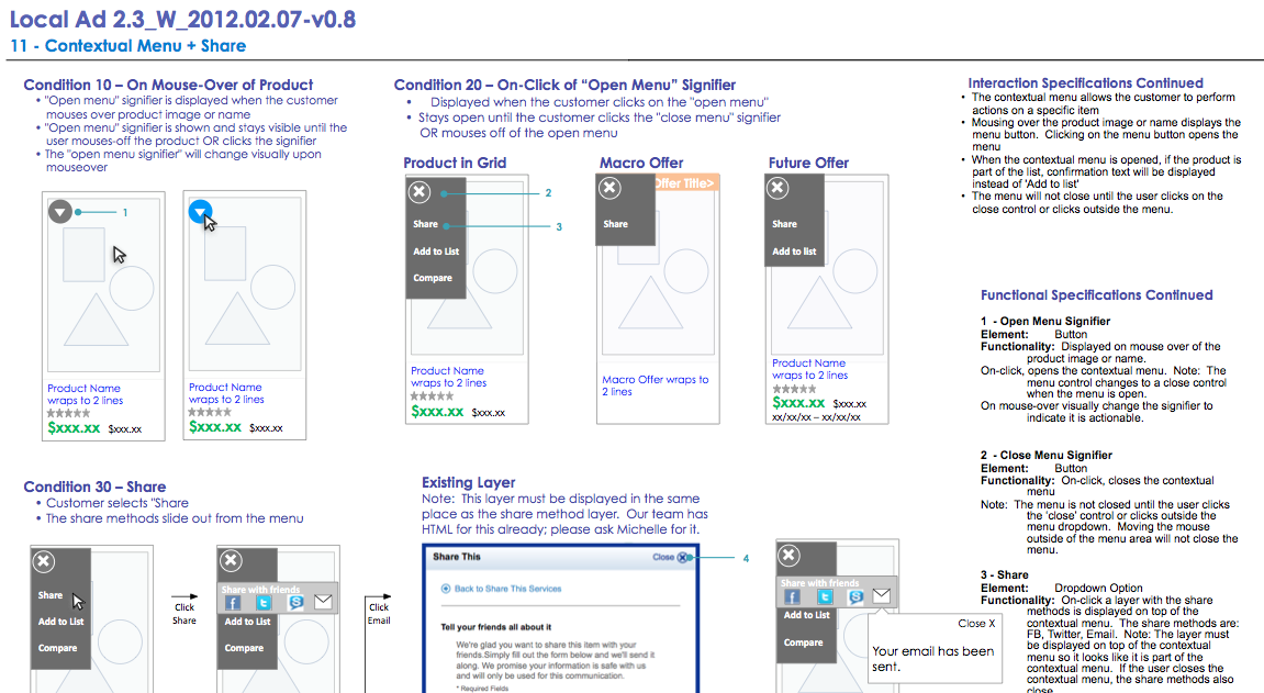 Functional and interaction specs - cover page (top) and contextual menus (bottom)