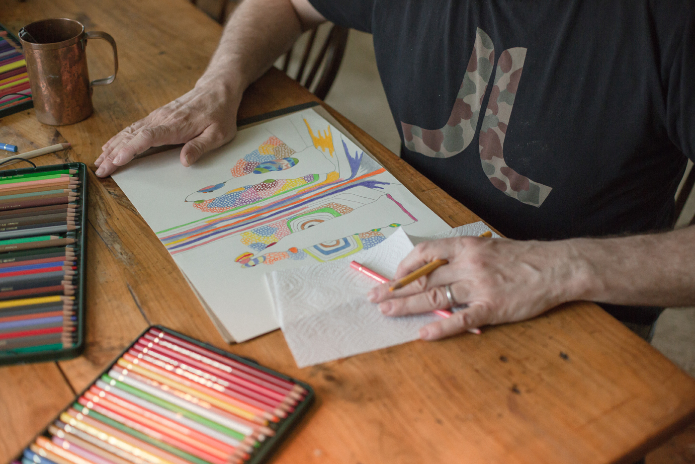 Working on a color pencil drawing in Windrift Hall 2018