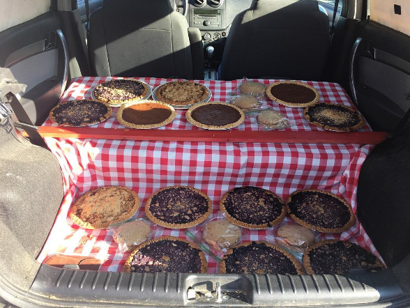 Hot pies sold out of cars in Maine. Well, sure....!
