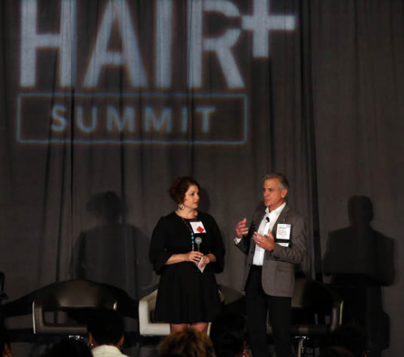2017, presenting with Jeffrey Paul at the Hair Plus Summit
