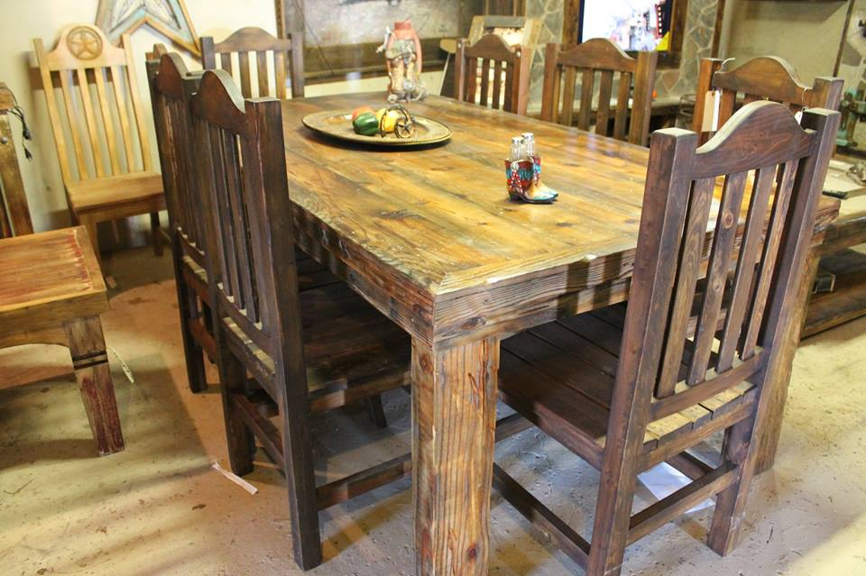 Simple 8 Chair Rustic Dining Table Frontier Rustic Store
