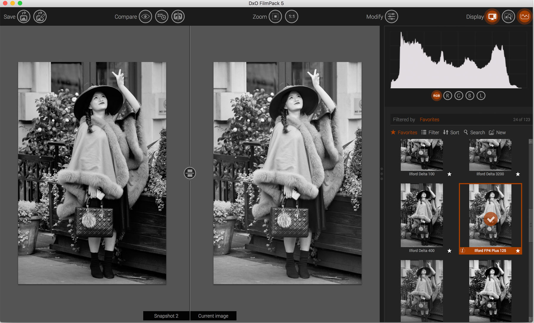 Monochrome Conversion Using DxO FilmPack 5  Left: Agfa Scala 200x  Right: Ilford FP4 Plus 125 Profile