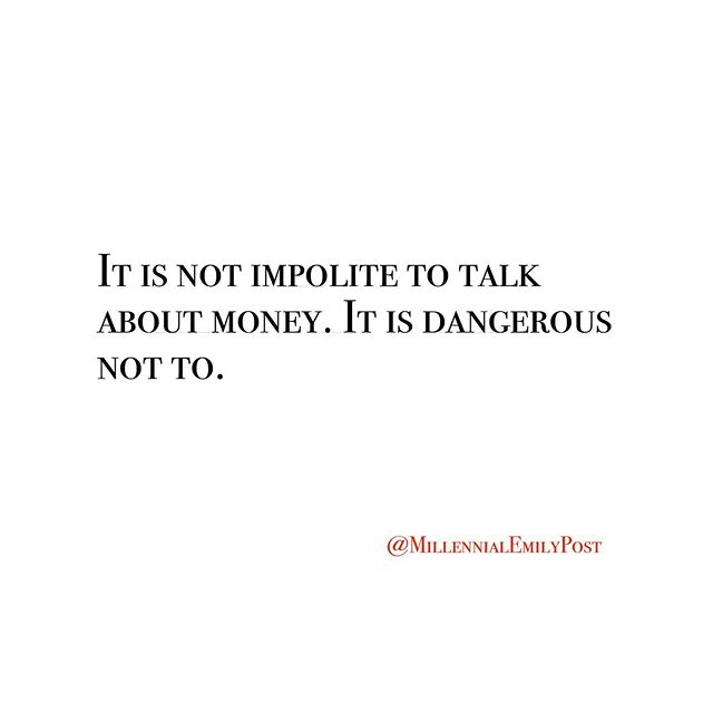 Talk to Benjamin about those benjamins.⁠⠀ .⁠⠀ #money #moneytalk #millennialmoney #emilypost #millennialemilypost #etiquette #modernmanners⁠⠀