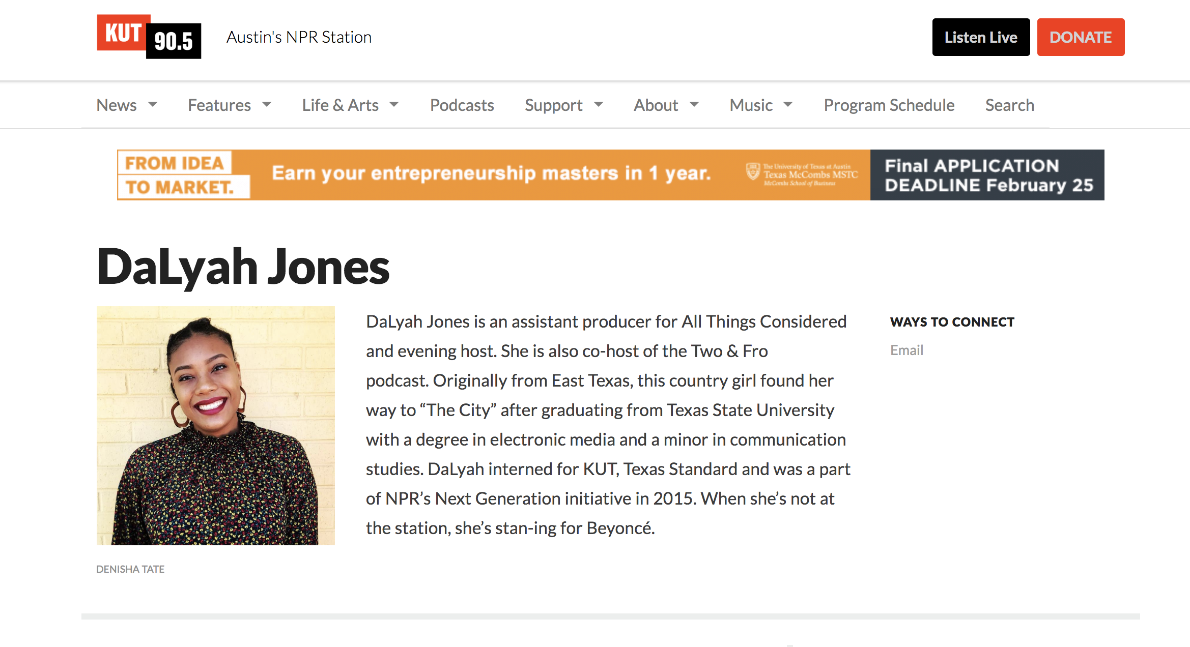Reporting for Austin's NPR Station