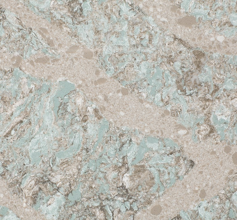 KELVINGROVE    Warm and nurturing Earth tones of taupe, white, and robin's egg blue-green blend organically in striking variation and glistening streams that prove not all masterpieces hang on the wall.