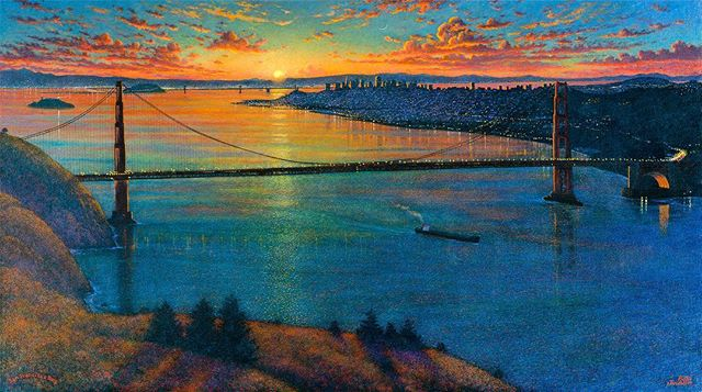 'Morning Colors, San Francisco Bay'. #oilpainting #oilpaint #oiloncanvas #painting #rocktopigmentpaint #landscape #watercolorart #art #goldengatebridge #sanfranscico #cityscape #sunset #sunsetonthebay #landscapelovers