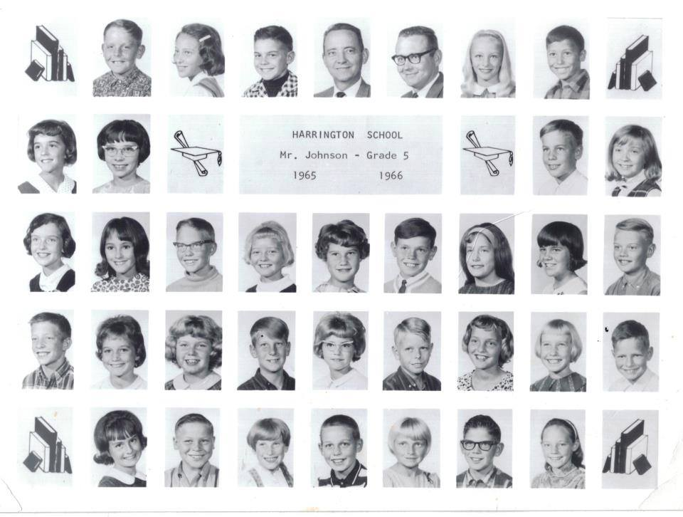 1965-1966 Mr. Johnson - Grade 5   1st row:  Mike Hindley, Patty Christiansen, Larry Ezell, Mr. Hansen, Mr. Johnson, Karen Larson, Tommy Herrera.  2nd row:  Jill Gordon, Christine Allen, Gail Brierly, Shelly Jacobs.  3rd row:  Doris Crookston, Shirley Devey, Mark Francom, Carrie Roberts, Beverly Driggs, Max Strasburg, Pam Harrington, Elizabeth Wright, Robbie Strasburg.  4th row:  Mark Hales, Brenda Hockenberry, Terri Stowe, Kent Johnson, Kathy Fatheringham, Stephen Murdock, Deborah Strong, Mary Griffith, Jens Day.  5th row:  Merrilyn Hellewell, Jimmy Fraughton, Rosanne Buhler, Cody Fraughton, Debra Clements, Clay Gasser, Diane Shelley.