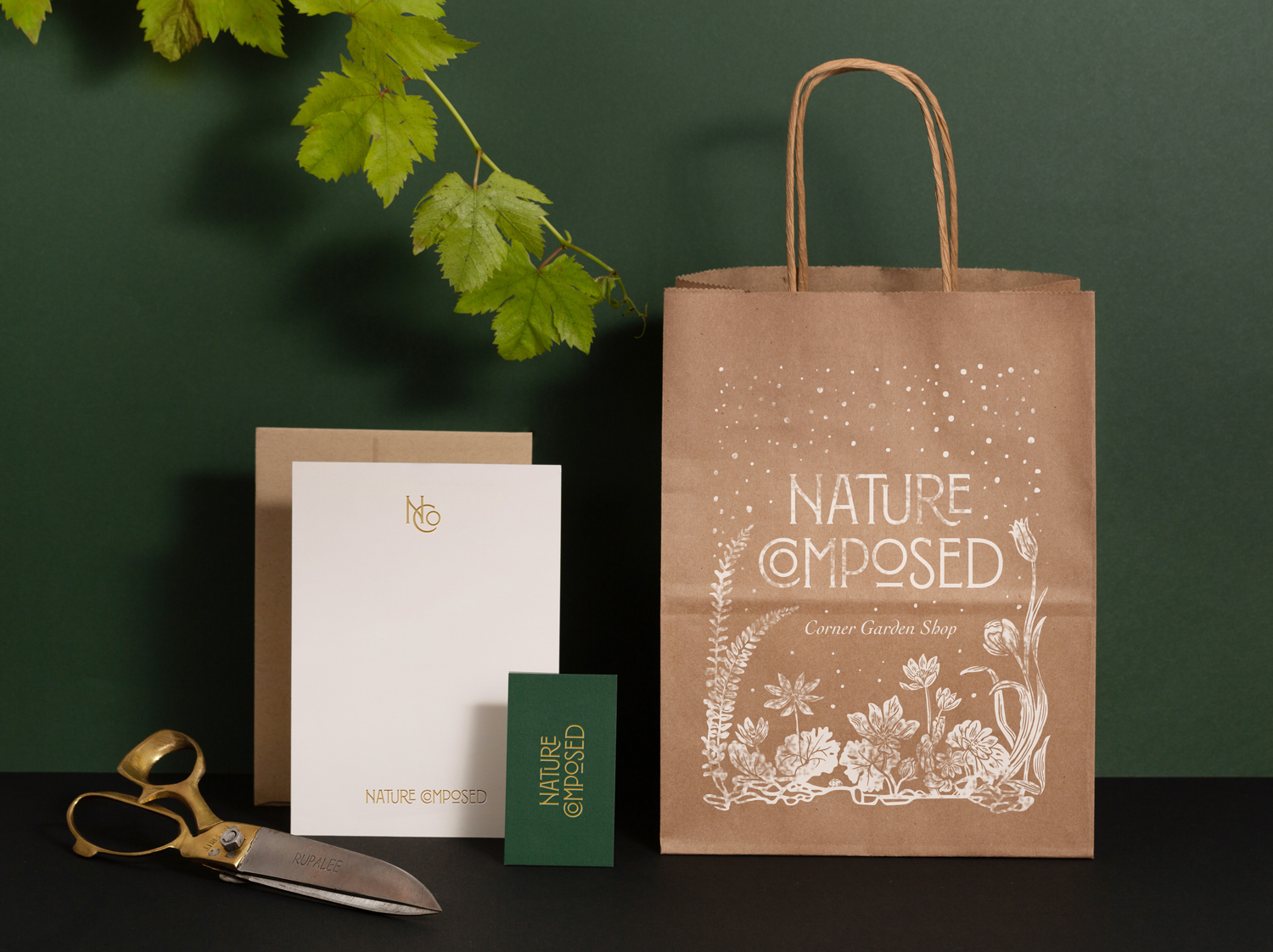 Nature Composed brand identity by Shoppe Theory. Photography by Anna Wu.