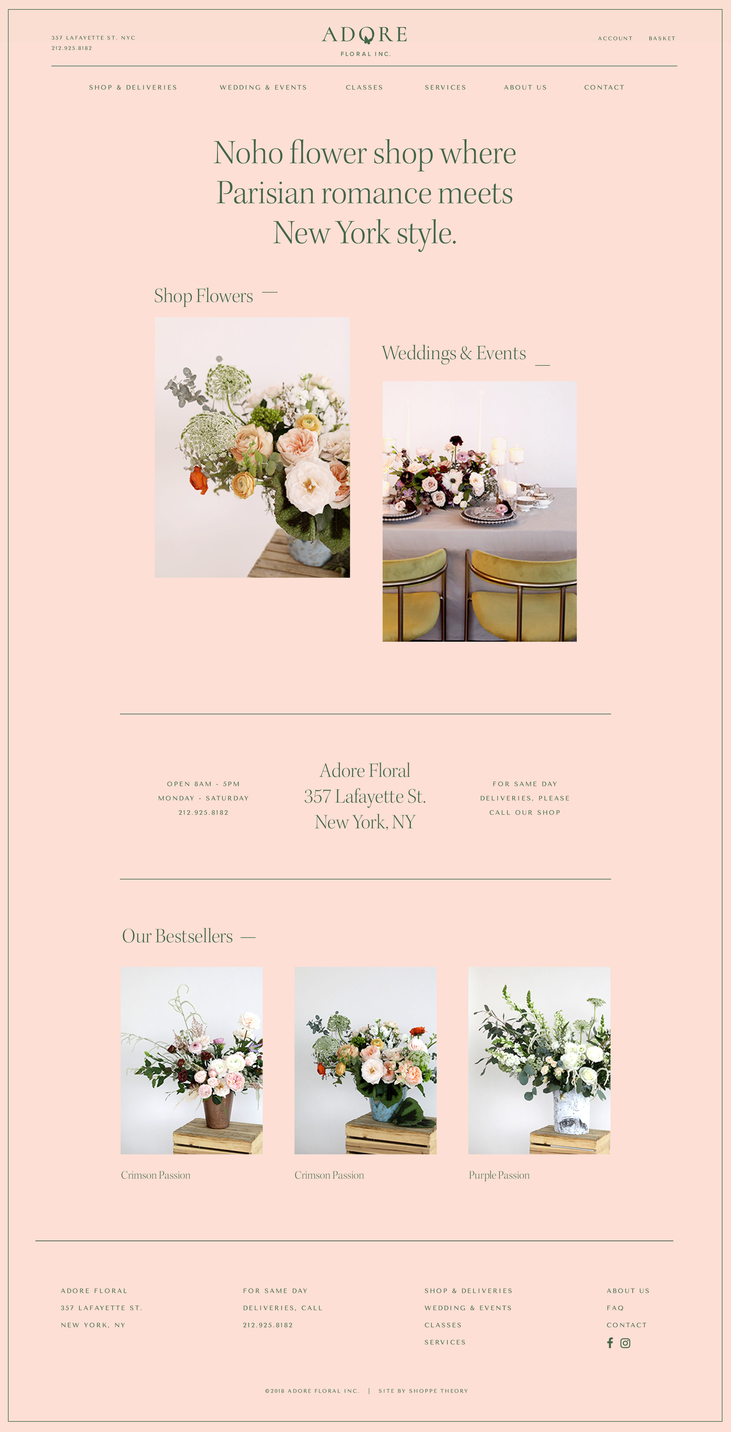 Adore Floral early website concept by Shoppe Theory.
