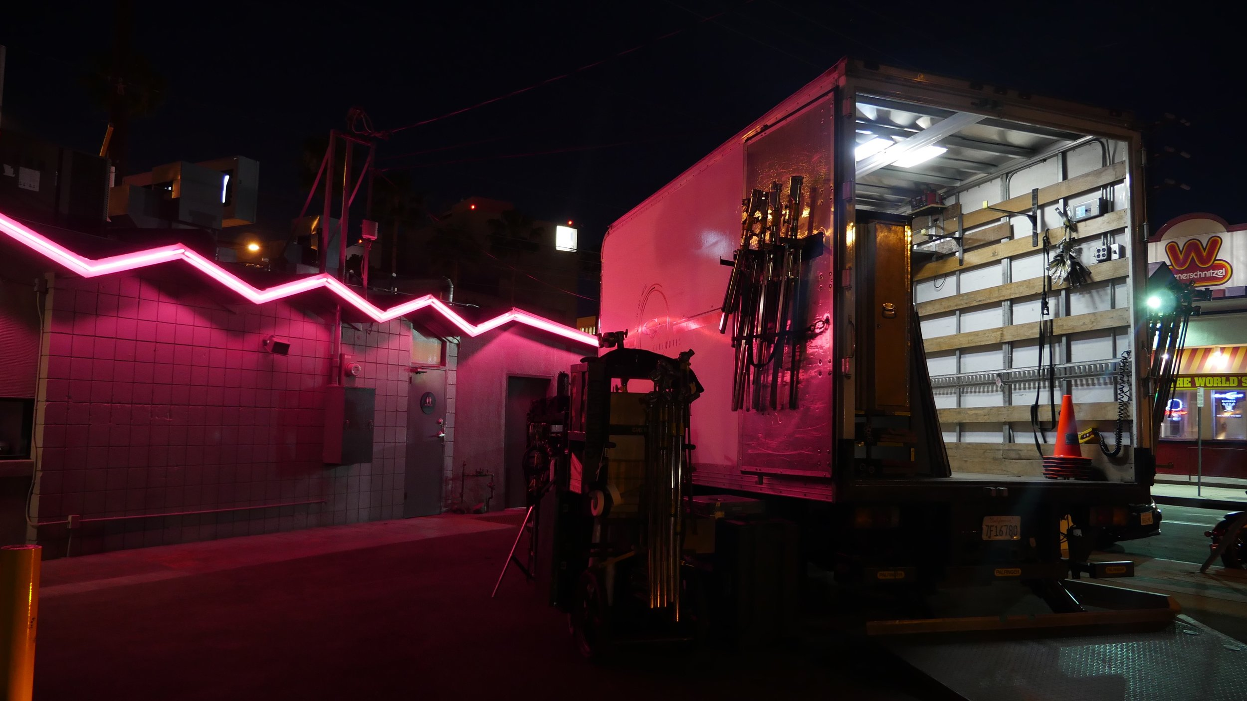 Pink lights making our grip truck look nice and moody at Coffee Commissary.