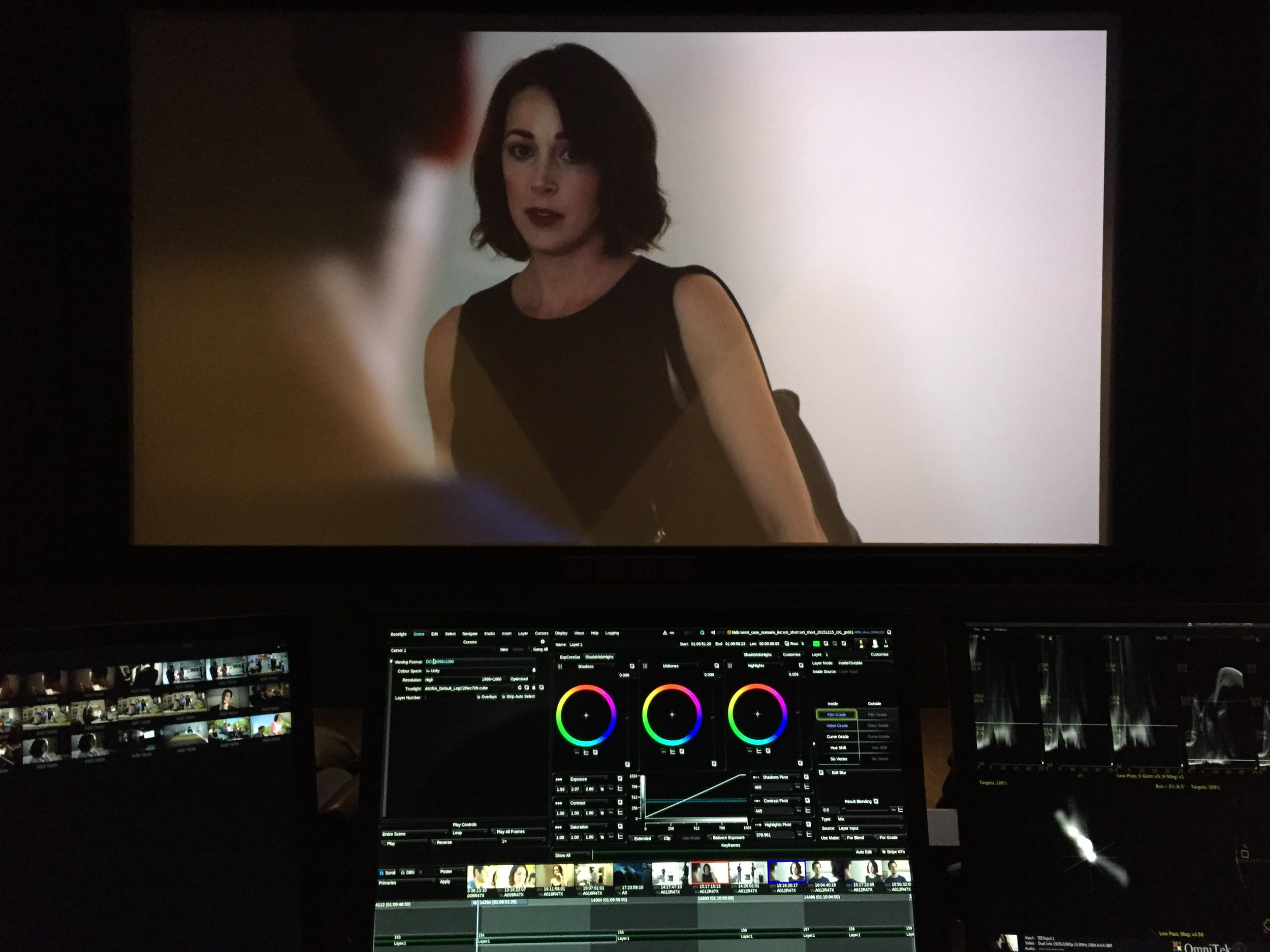 Our brilliant colorist Natasha Leonnet (not pictured) making all the shots look even more beautiful.