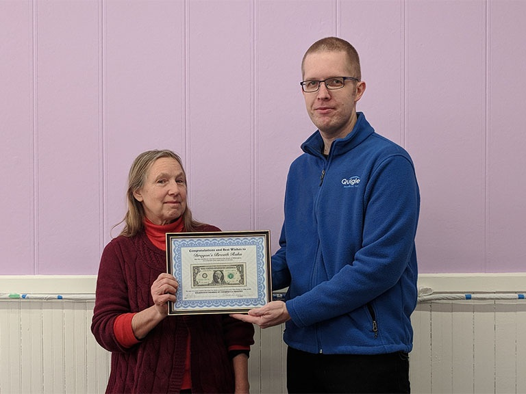 Dragons Breath Raku  was presented with a First Dollar of Pure Profit and welcomed to the Wilmington Chamber of Commerce. Dragon's Breath Raku is a pottery studio, art gallery, and offers classes at 219 N. Water St in Wilmington.