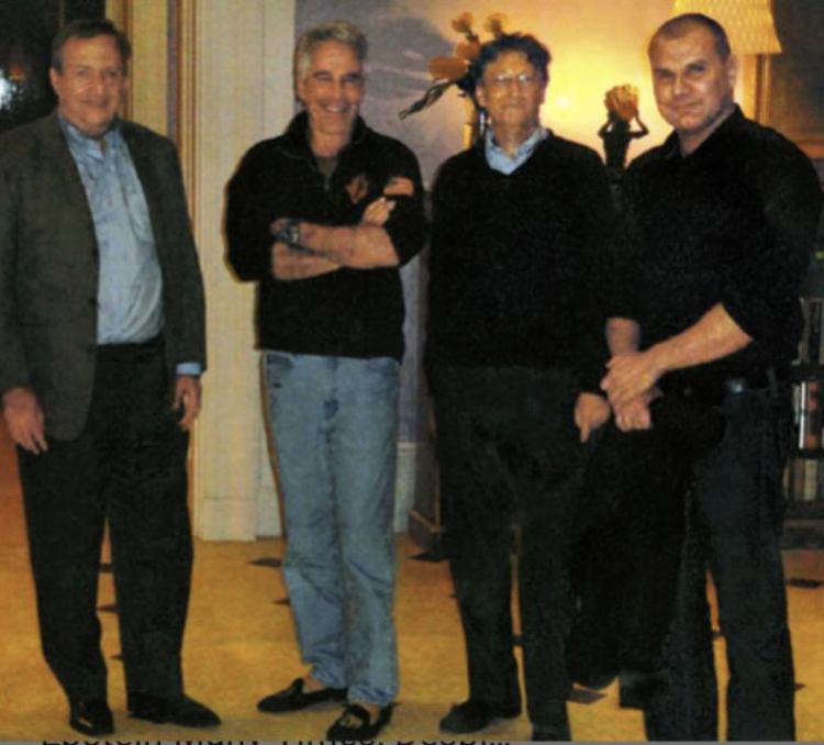 "Bill Gates (right center) next to eugenicist Jeffrey Epstein (left center) from  New York Times  article, ""Bill Gates met with Jeffrey Epstein many times, despite his past."" (Oct. 12, 2019). See also ""Jeffrey Epstein Hoped to Seed Human Race With His DNA."" (NYTimes, July 31, 2019) and ""Private jets, parties and eugenics: Jeffrey Epstein's bizarre world of scientists,"" ( The Guardian , August 8, 2019)."