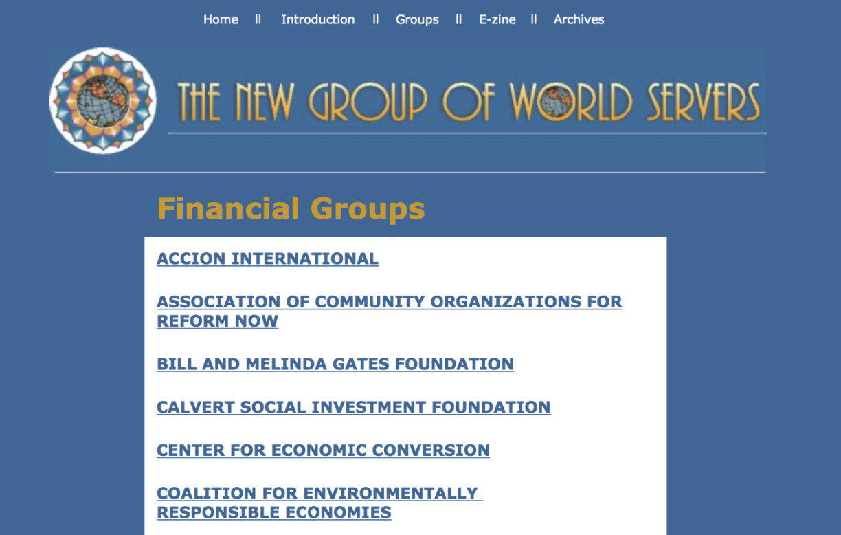 Screenshot of Bill and Melinda Gates Foundation as donors to Lucis Trust/New Group of World Servers. Scrubbed from the internet. Full documentation here .