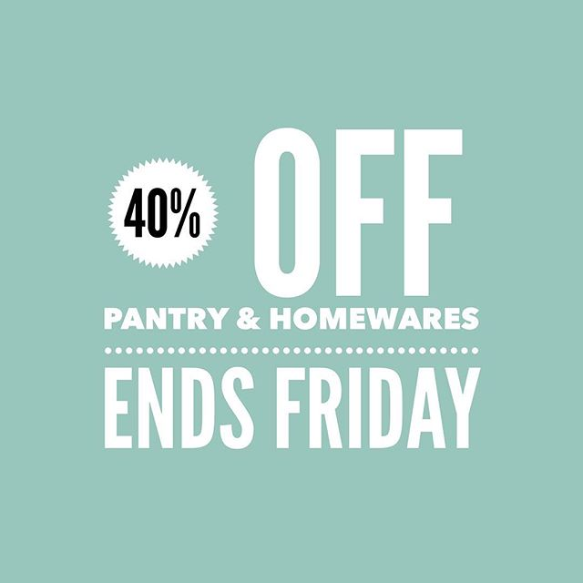 Flash Sale ⚡️ 40% Off all pantry and Homewares stock, making way for new treasures... pop in this week and grab yourself a bargain! Offer ends Friday 8 Feb.