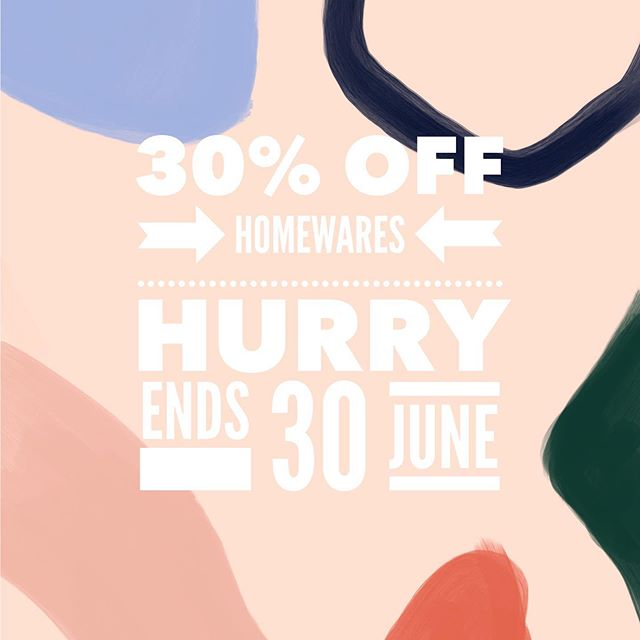 EOFY Time!! Hurry in and grab a bargain with 30% off all Homewares including current Le Creuset stock. Hurry... Sale ends 30 June 19 or until sold out!