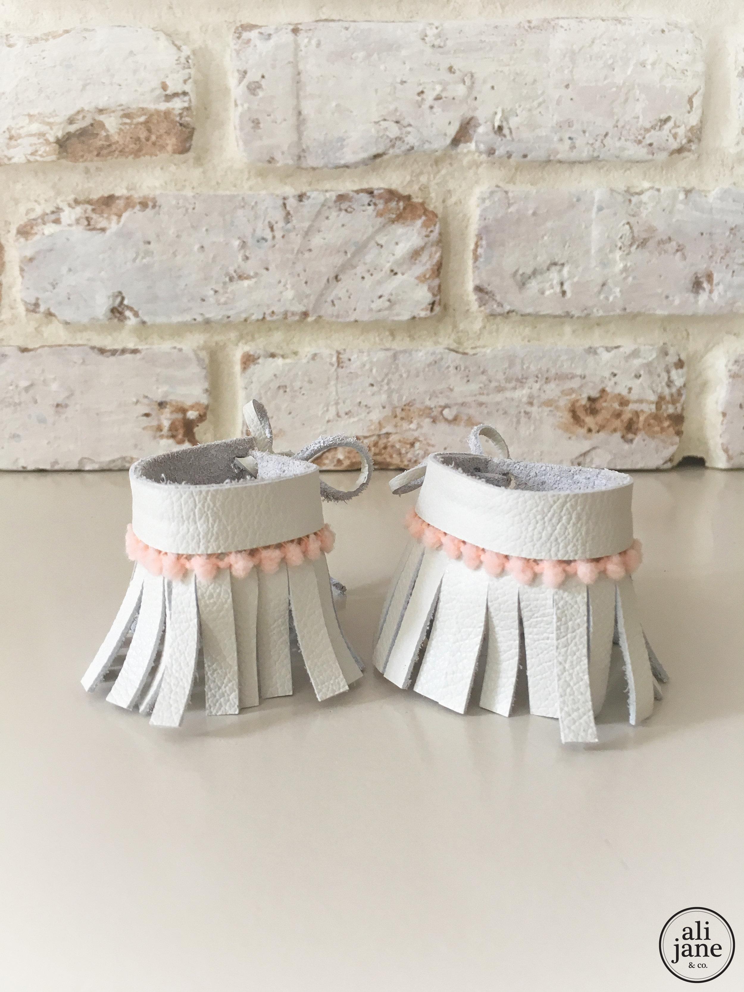 Baby fringe ivory leather ankle cuff