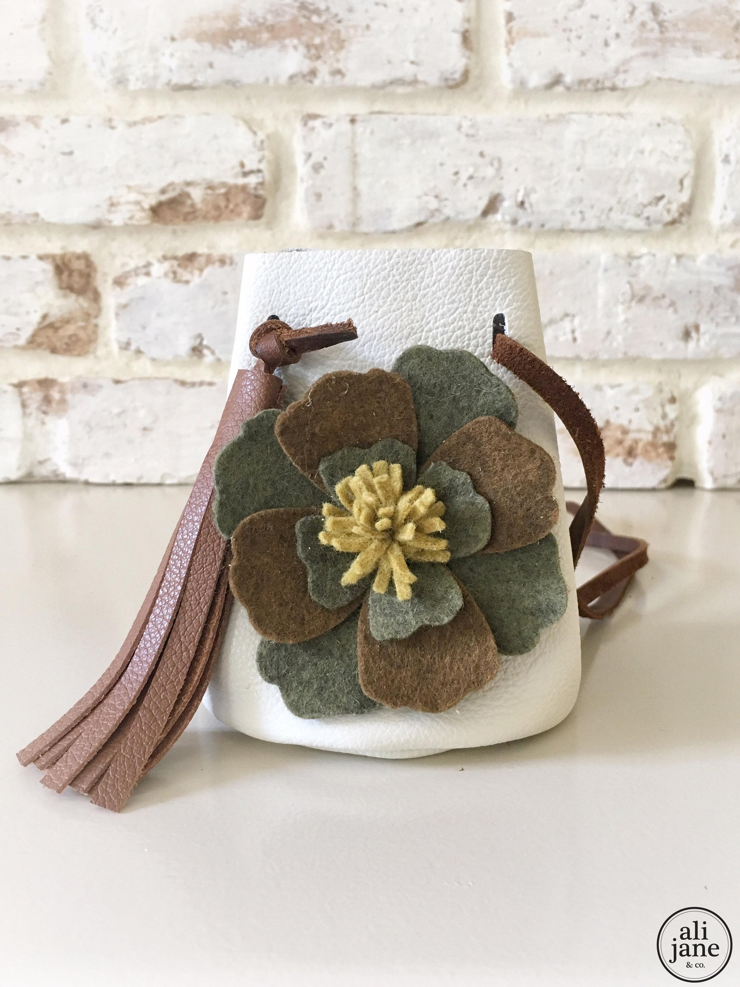 Ivory leather camo purse