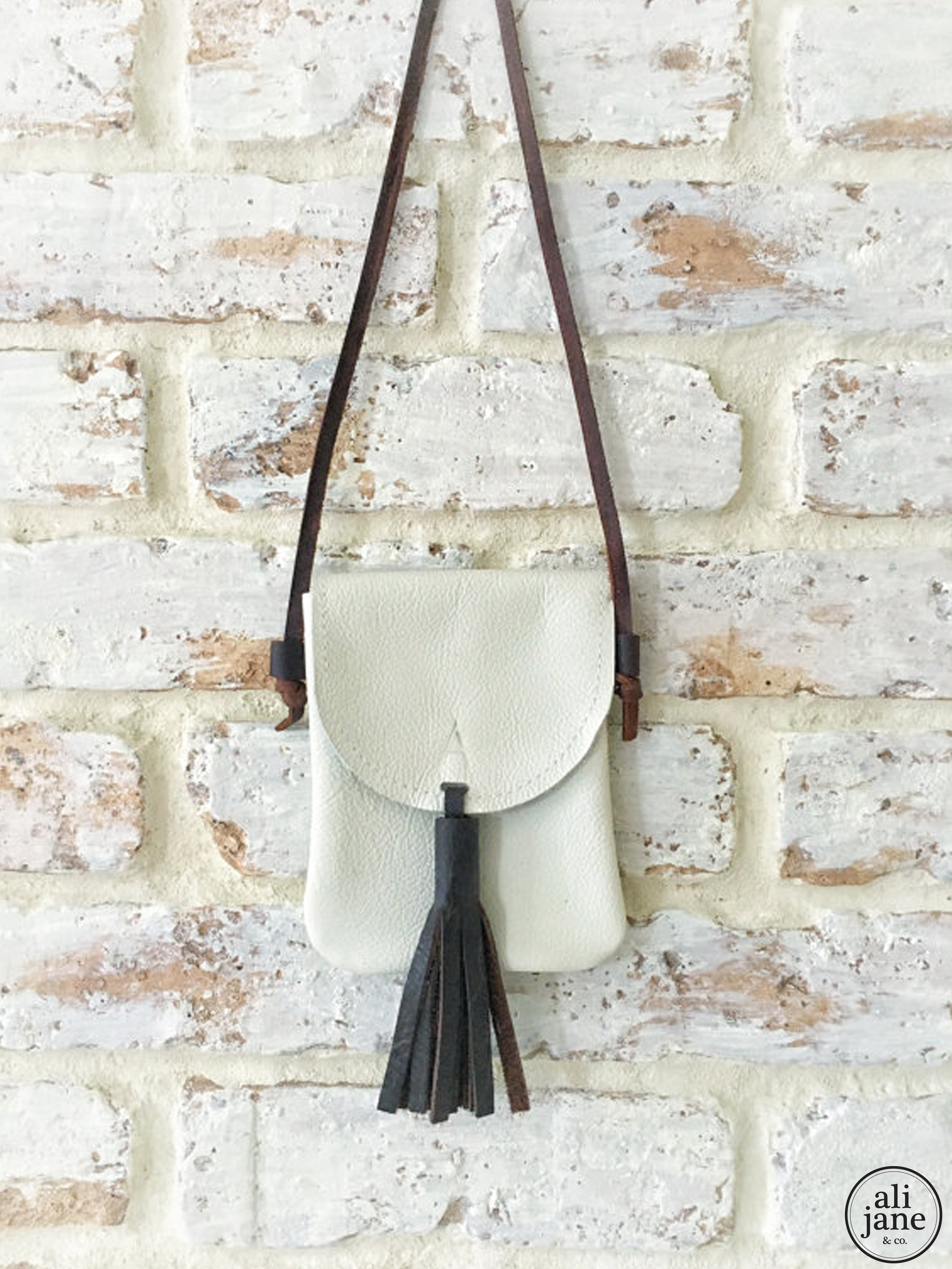 Mini ivory leather initial satchel