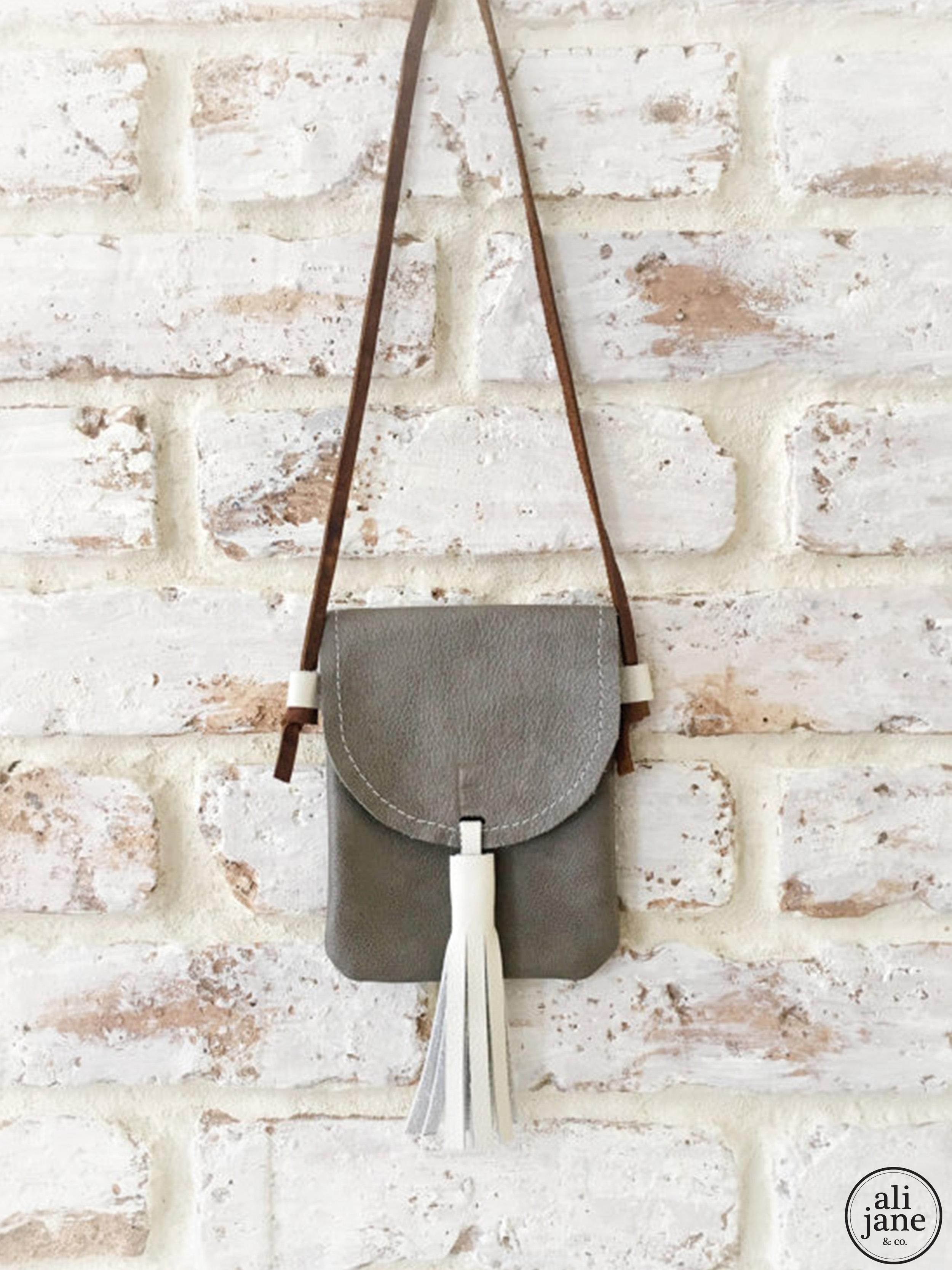 Gray leather mini initial satchel