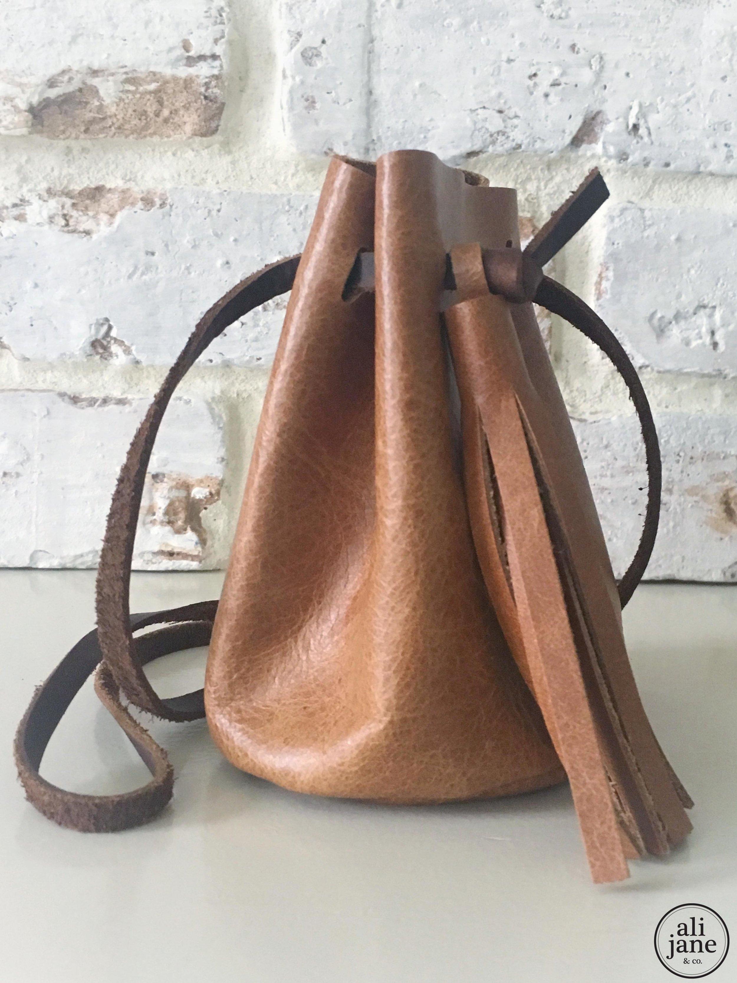 Mini tan leather pouch