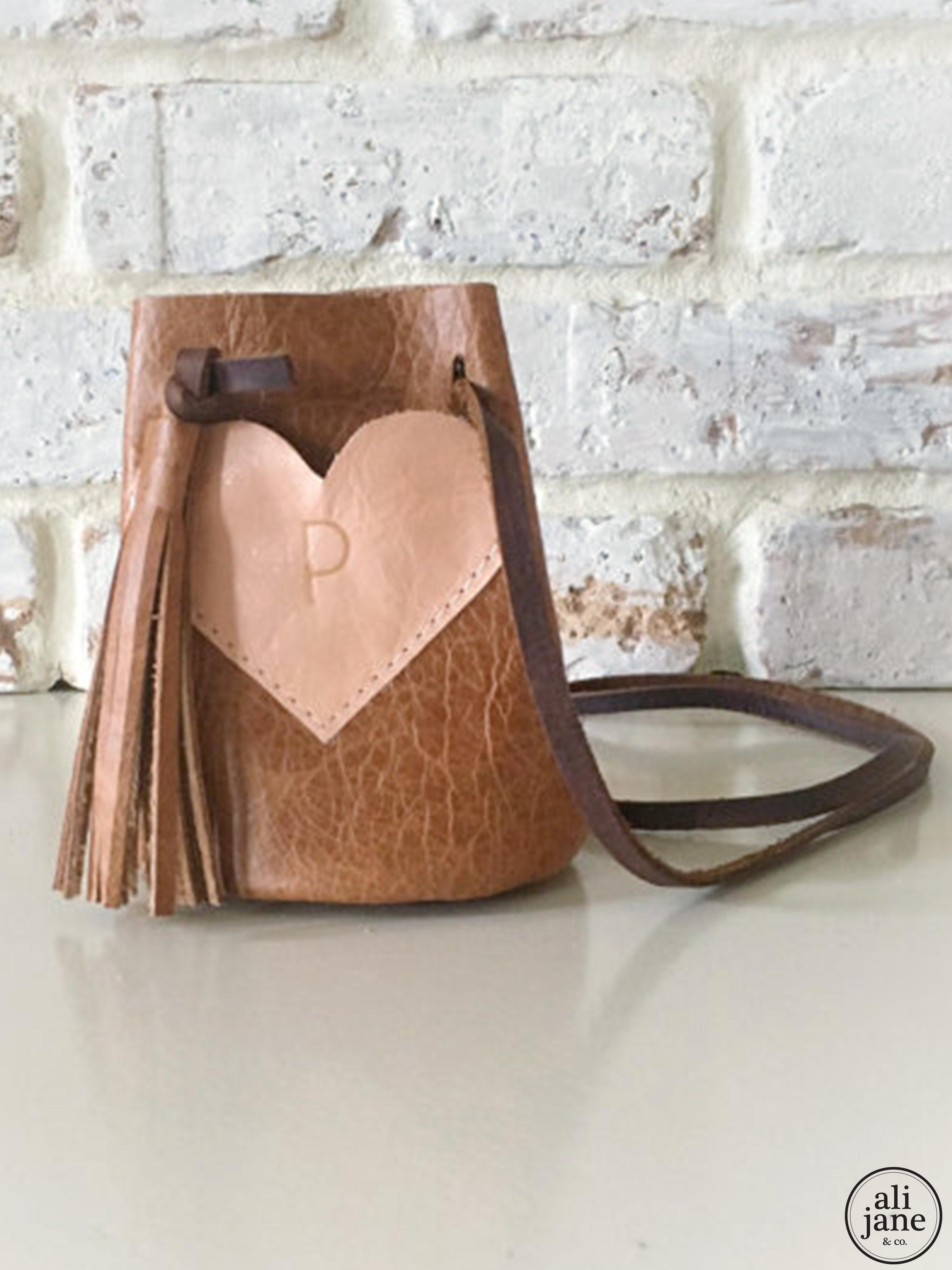 Girl's tan leather keepsake purse