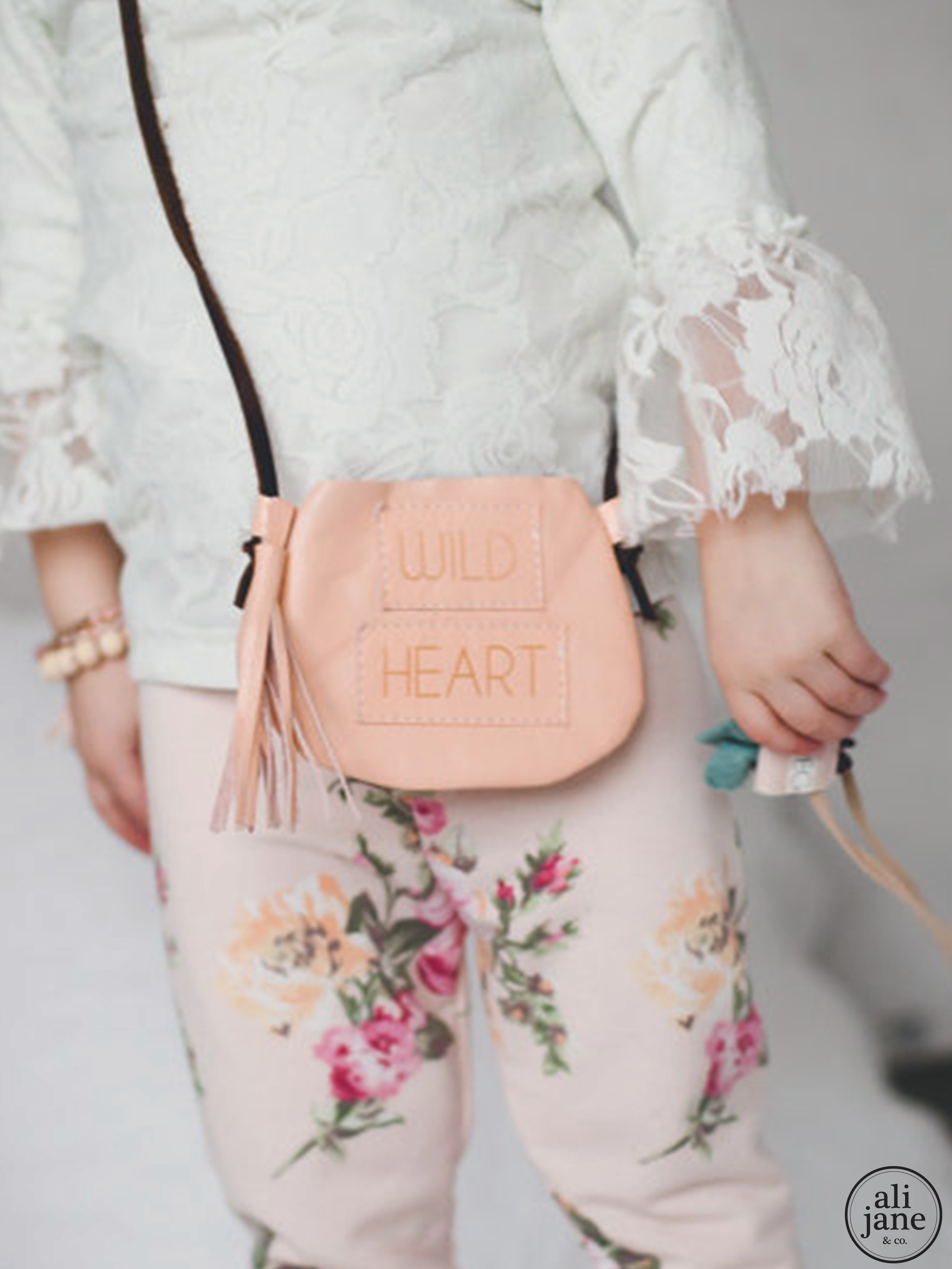 Mini pink WILD HEART satchel