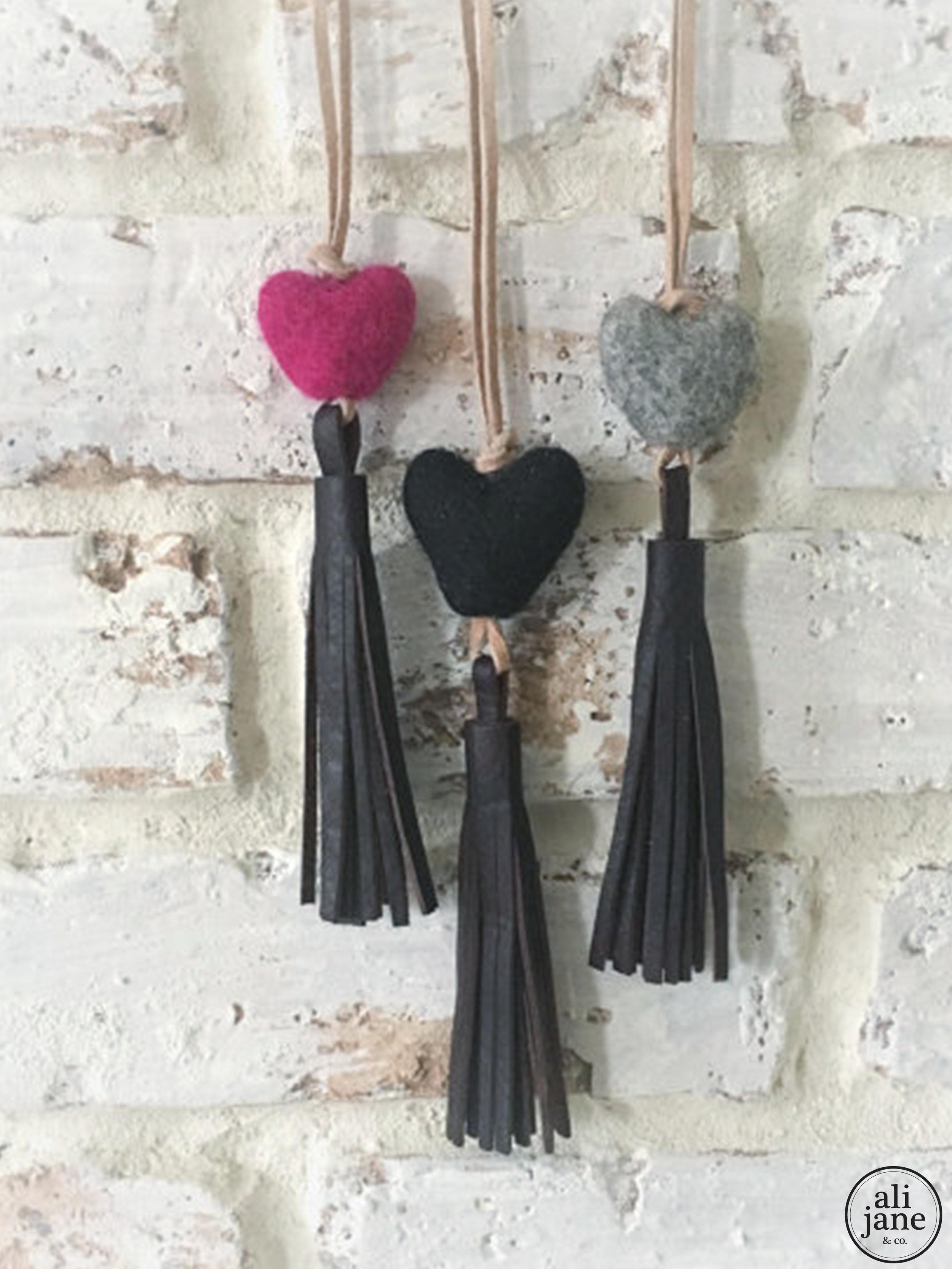 Little girls vintage brown tassel necklace with heart wool felt pom pom