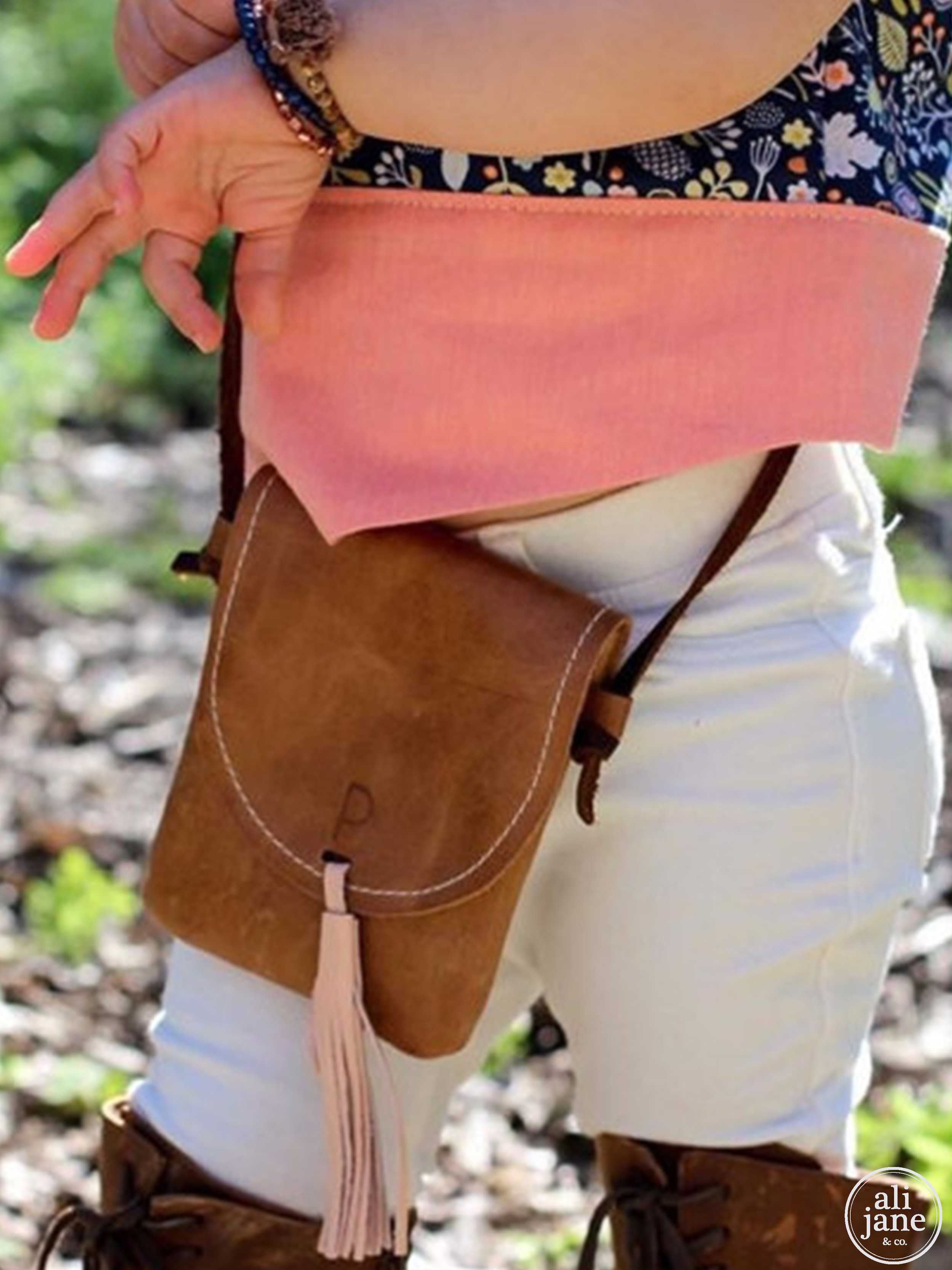 Brown distressed leather girls personalized satchel