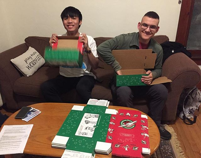 Assembling 50 boxes for @operationchristmaschild! Good Shepherd's children will complete on Sunday. Join us and other campus ministries this Friday @ 5:30 PM at the Spiritual Center for dinner & helping to pack 3,000 boxes!