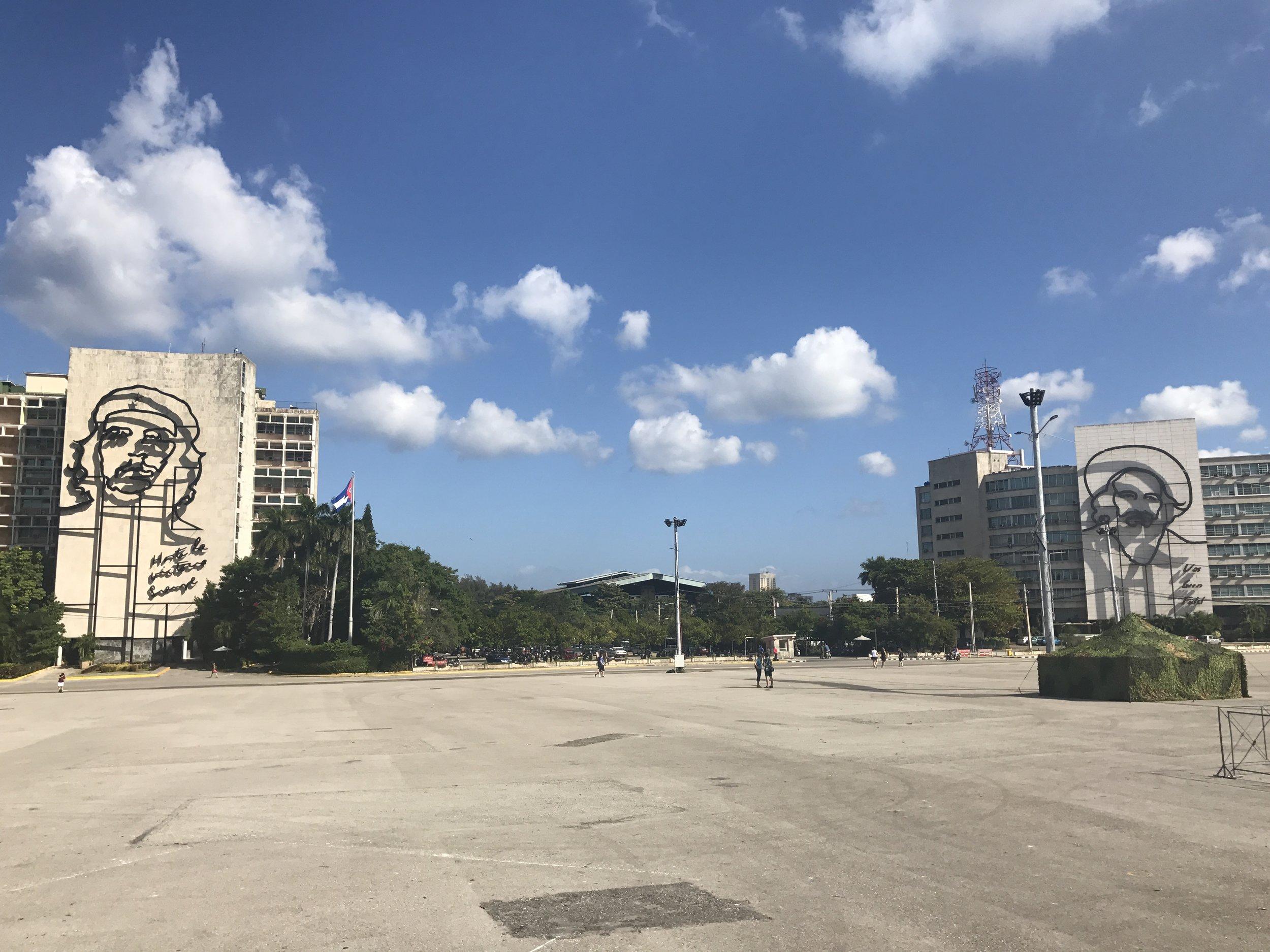 Che to the left, Camilo to the right. Plaza de la Revolucion