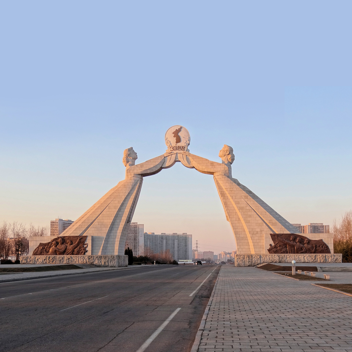 The Arch of Reunification located south of Pyongyang, the capital of North Korea.