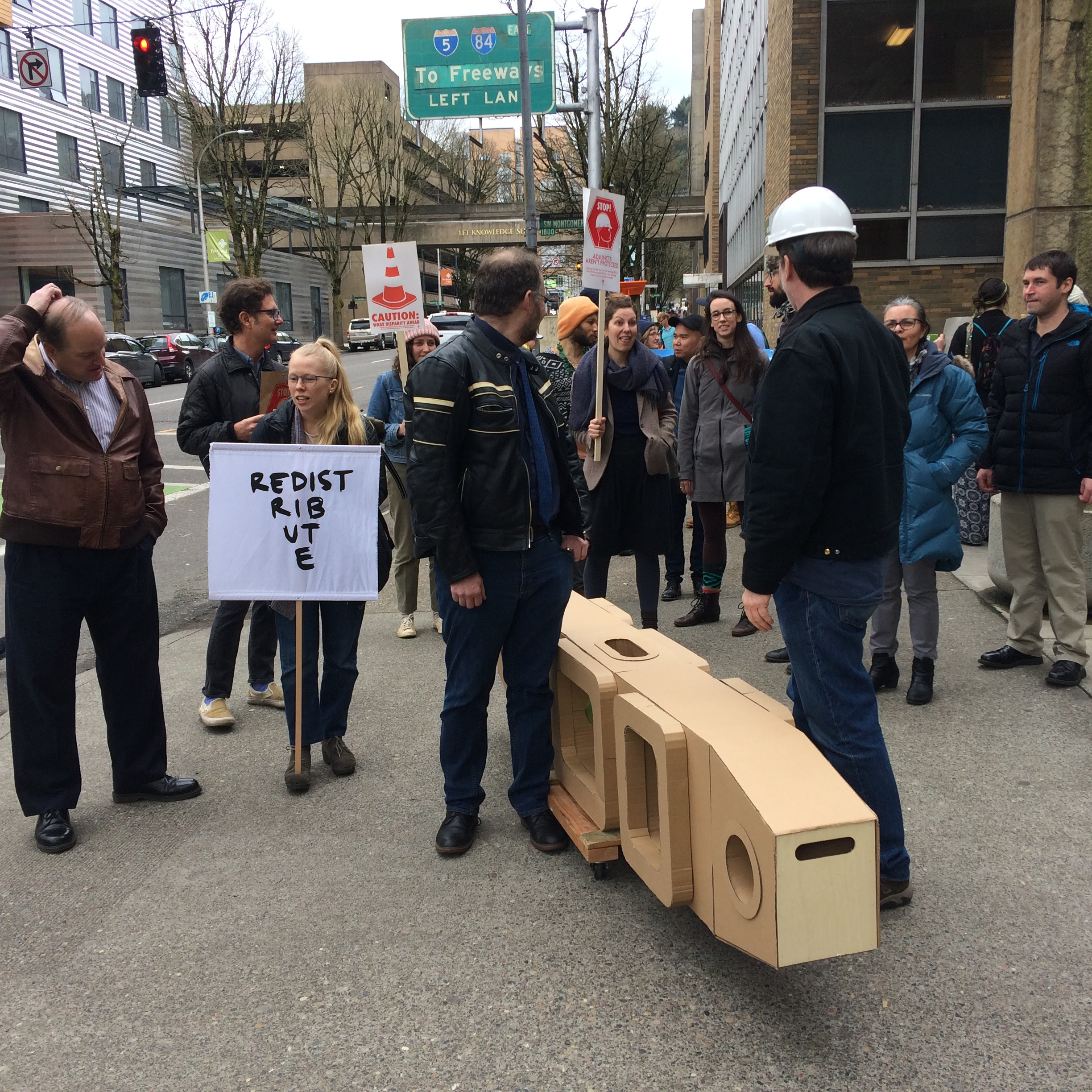 After the rally we walked with students, AAUP, GEU, SEIU, and PSUFA members to deliver a token of goodwill to President Shoureshi.