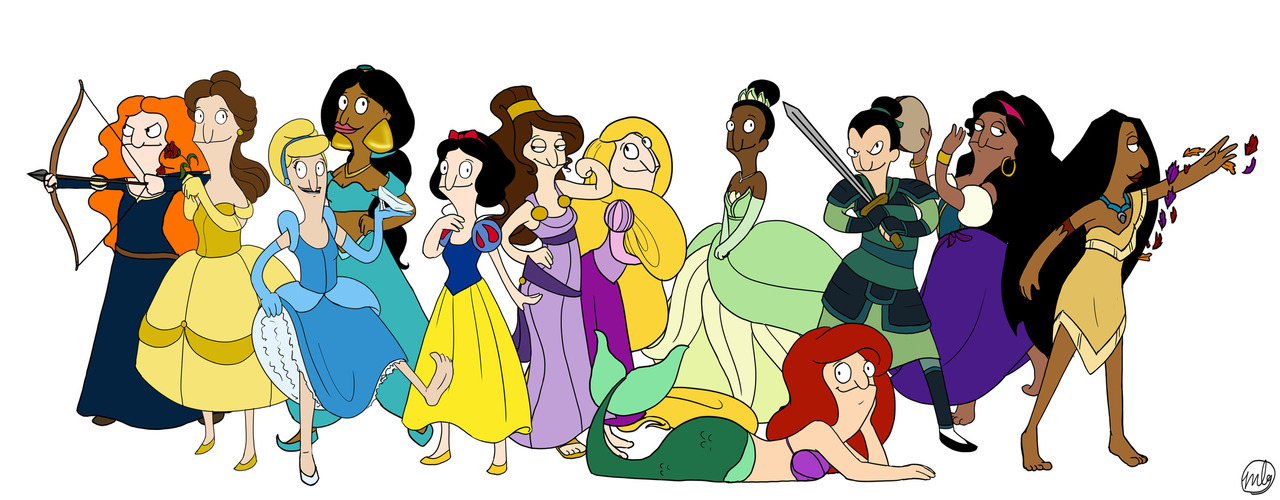 behindbobsburgers :      Disney princesses in the style of  Bob's Burgers (via   marbri27  )
