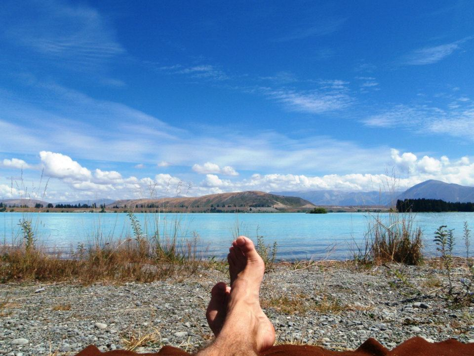 Taking in the lakeside, Tekapo, February 2012 - cjG