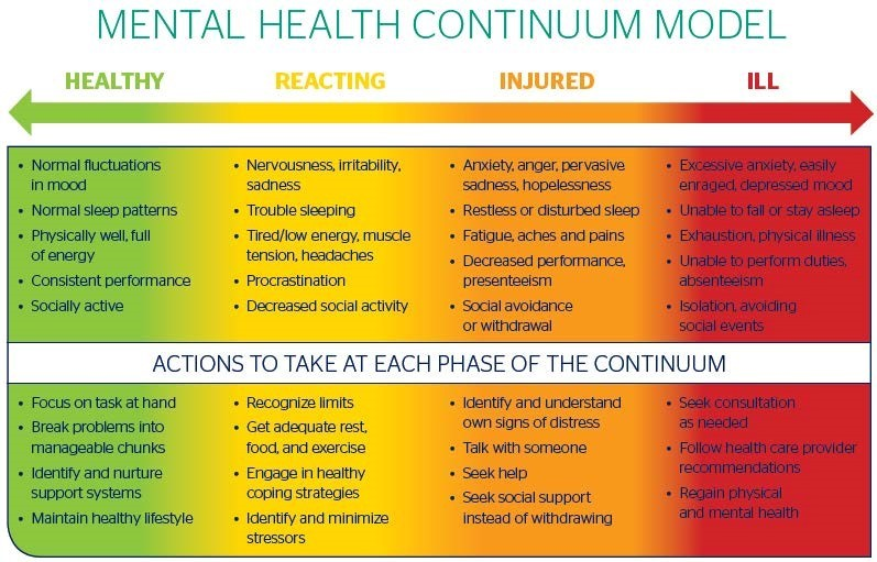 Signs and symptoms of each zone of the mental health continuum and what to do at each stage.