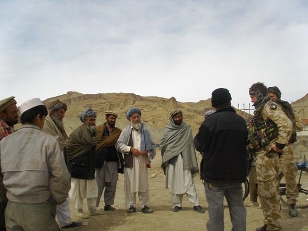 Me, my interpreter, and the Shura of a village in Bamiyan, Afghanistan, 2009.