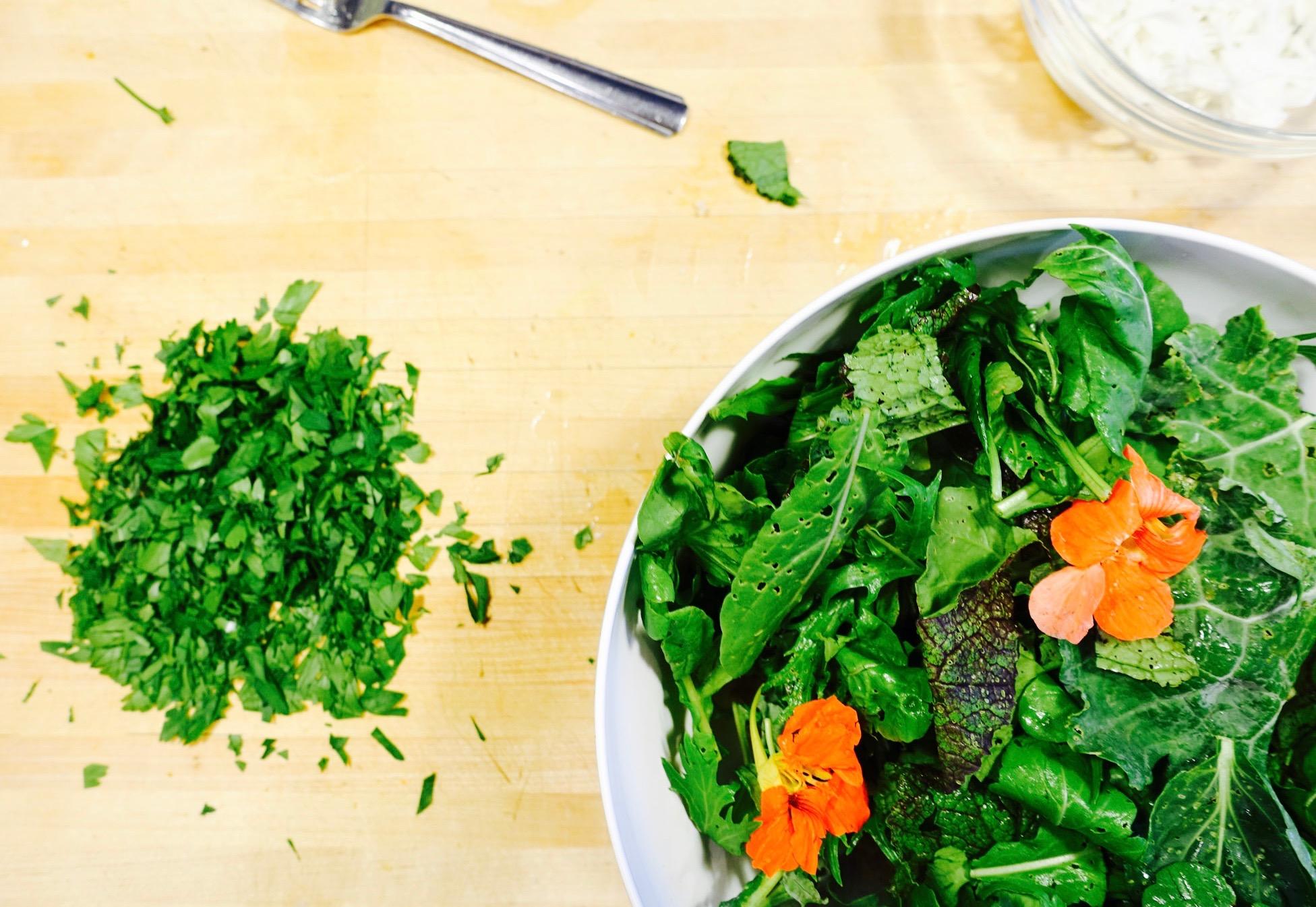 salad and herbs