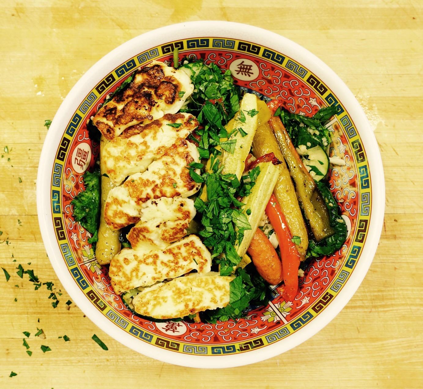 middle eastern salad dukkah halloumi roasted vegetables