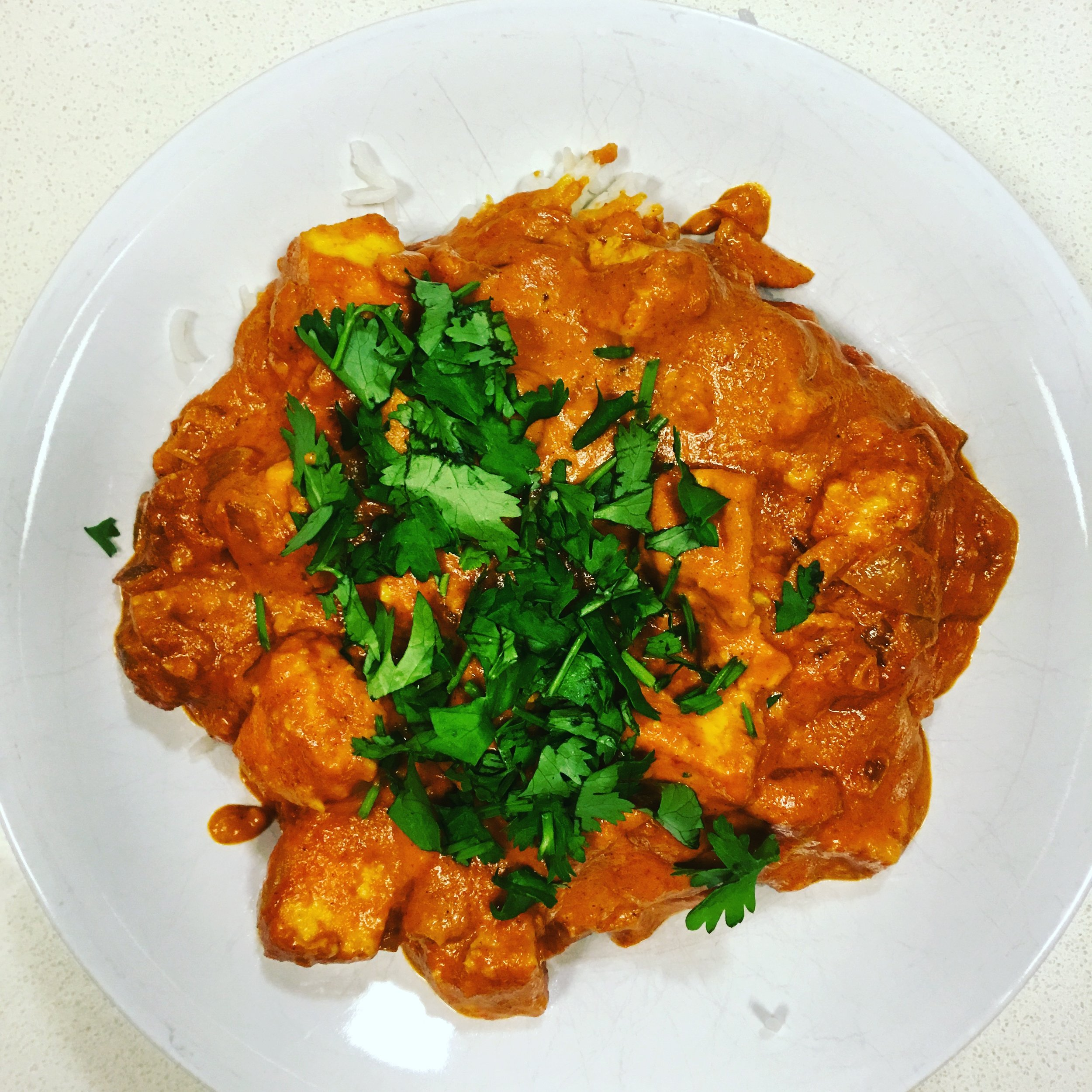 Curry Stand Tikka Masala , made vegetarian by subbing paneer for the chicken in the recipe