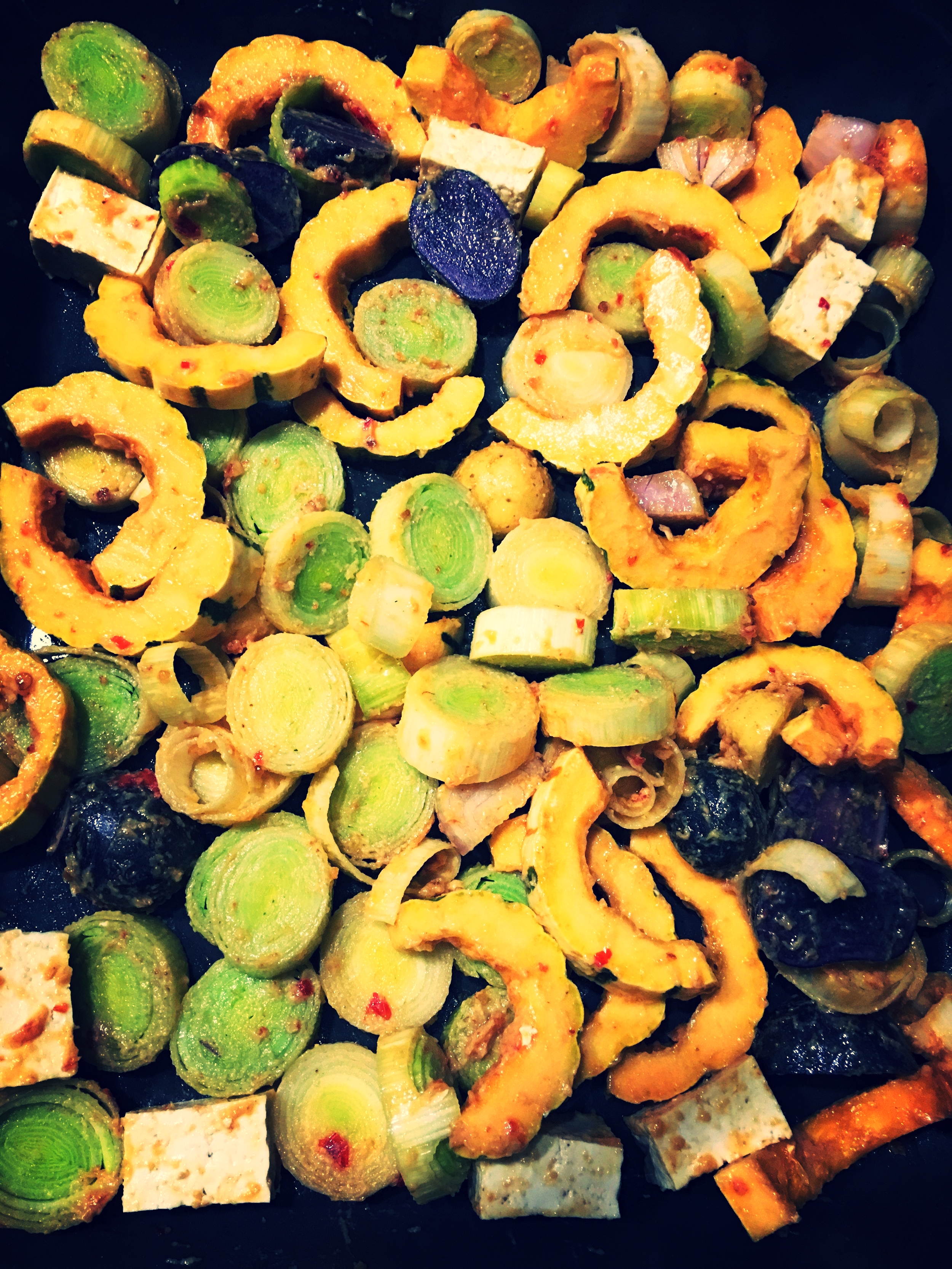 Remix of Heidi Swanson's  Roasted Delicata Squash Salad , with leeks and tofu added