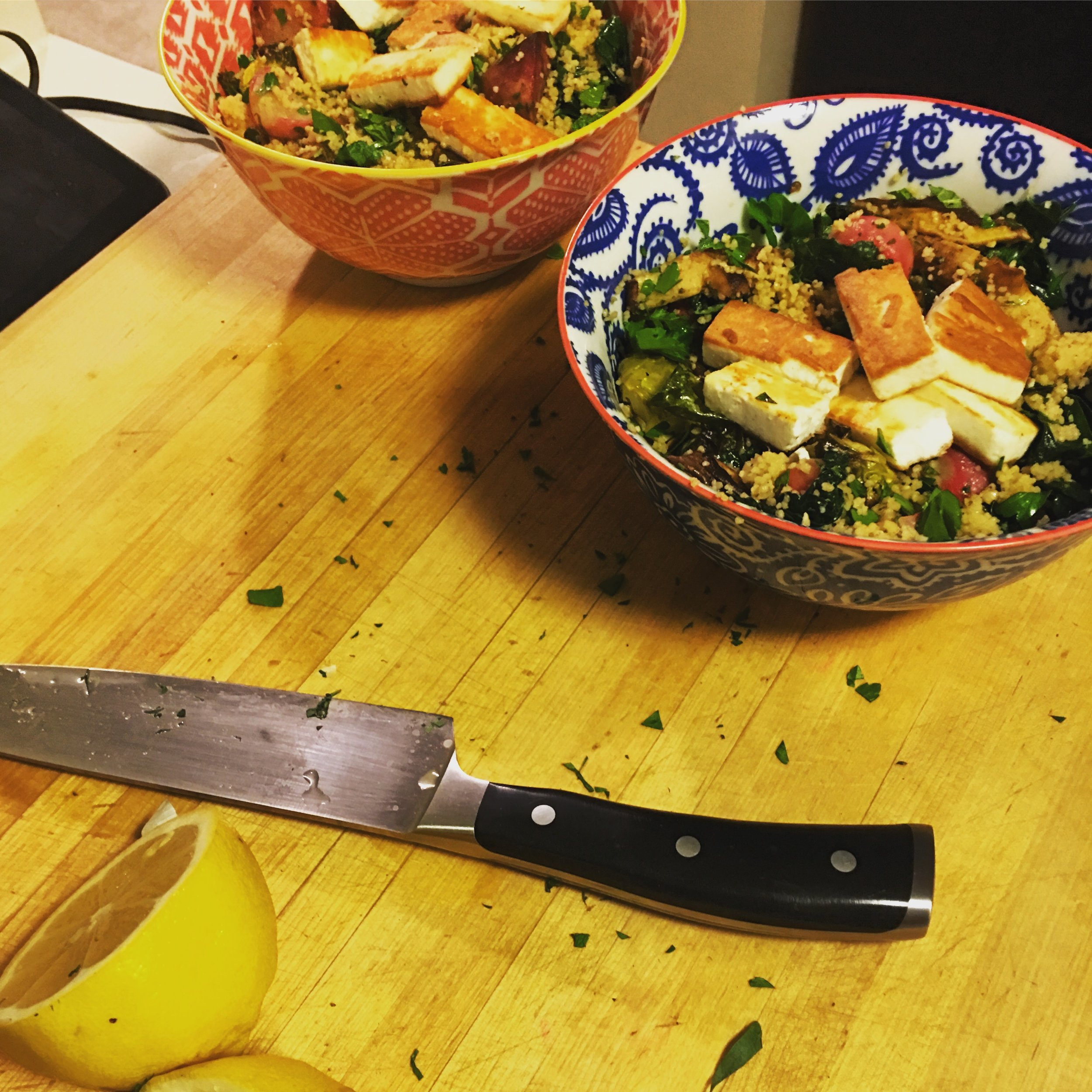 Berbere Veggies: Variation 1   My first incarnation of a recipe I'm working on for a forthcoming blog post: roasted vegetables with Berbere spice mix, couscous, rainbow chard, parsley and mint and pan-fried halloumi.