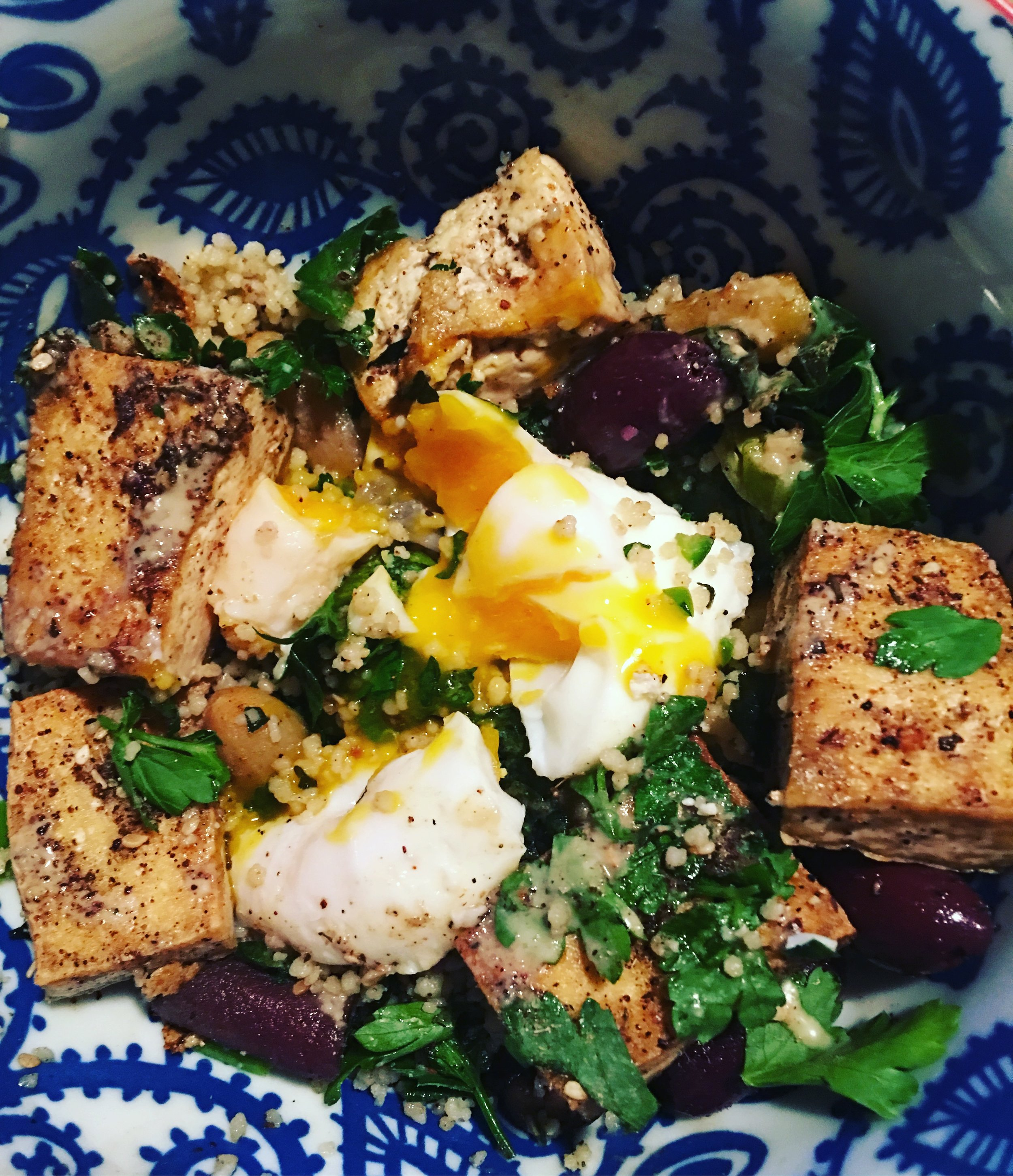 Berbere Veggies Leftover Remix   I love it when leftovers are better than the original: What was left of Variation #3, along with pan-fried za'atar tofu, kalamata olives, poached egg and tahini. The best version yet!